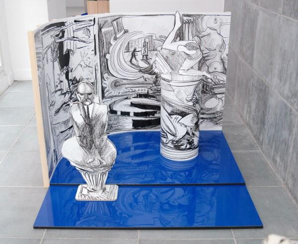 Nadia Naveau - Drawing a ballet - 154x154x122cm, Hout, karton, vinyl en dibond