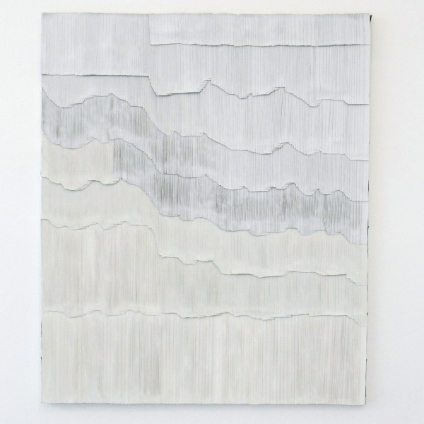 Jurgen Ots - Periaqueductal Gray - 104x131x3cm Mixed Media, oude projectorschermen, schaar en lijm