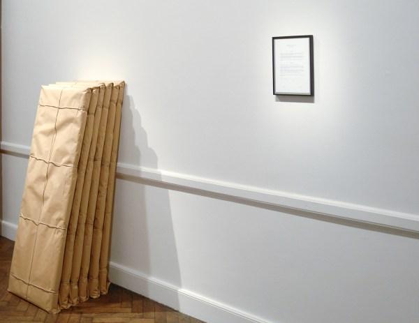Almudena Lobera - Epiphany, mise-en-scene - 55x150x5cm, Oliepastel en pen op papier op houten paneel, inpakpapijk en draad & Agreement - 21x30cm