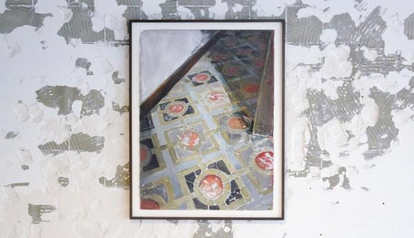 Arjan van Helmond - Floor #9 (Vloer met barsten) - Waterverf en acrylverf op papier