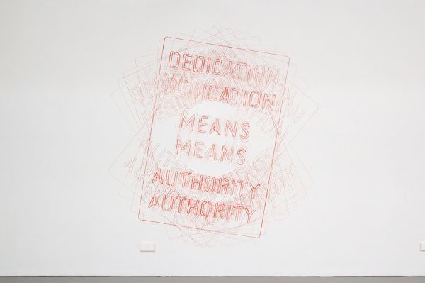 Job Koelewijn - Untitled (Dedication Means Authority) - 200x200cm Potlood, marker en sjabloon