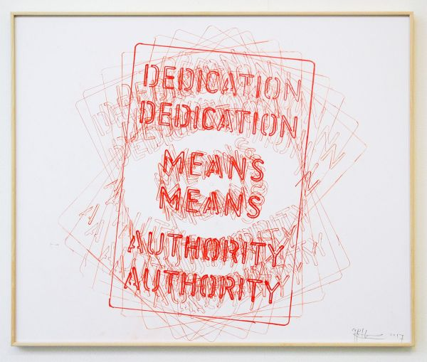 Job Koelewijn - Untitled (Dedication Means Authority) - 50x70cm Pen op papier