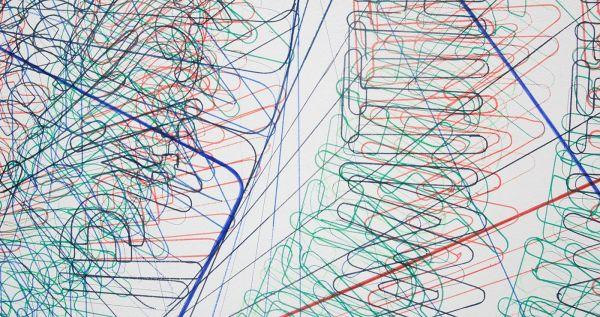Job Koelewijn - Van een Rechthoek naar een Cirkel - 370x370cm Potlood, pen, marker en sjabloon (detail)