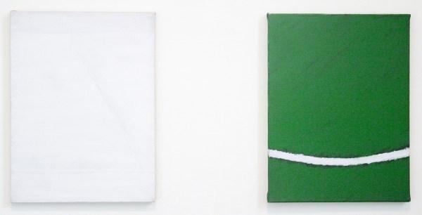 Raoul de Keyser - Zonder Titel & Maaigem April 76 - beide 40x30 Acrylverf op doek &