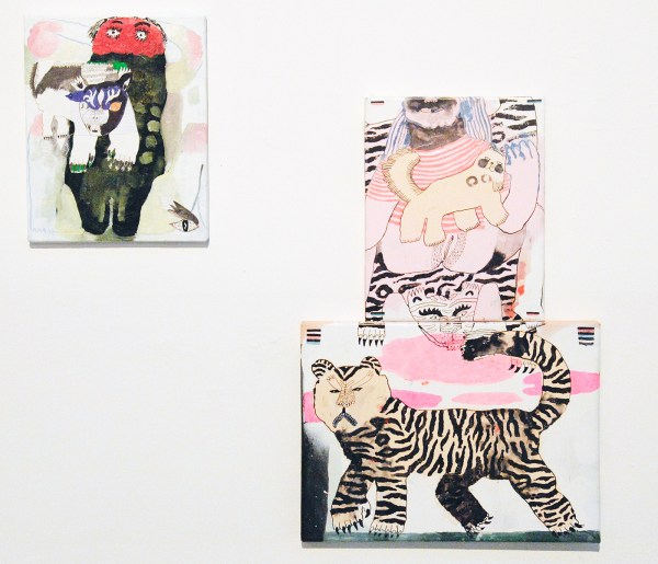 Esmay Groot Koerkamp - Selfie - 30x24cm Mixed media op canvas & Tiger vs Pussy - 60x40cm Mixed media op canvas