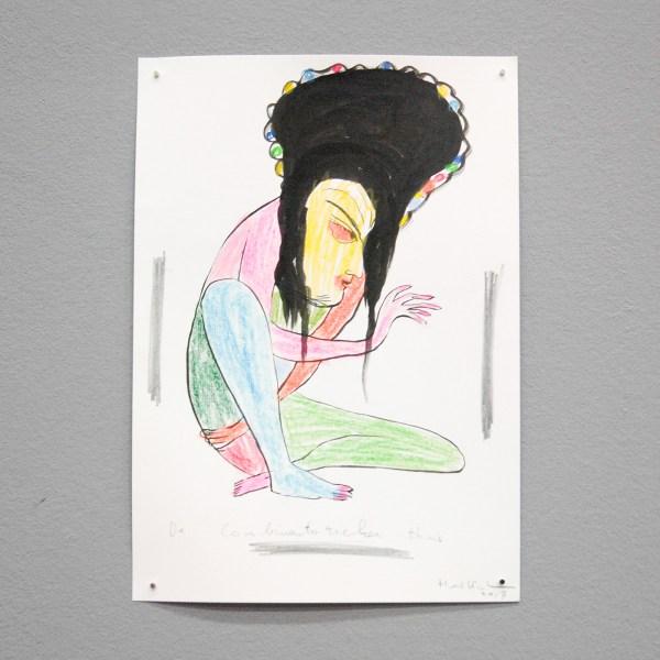 Henk Visch - De Combinatorieker Thuis - 30x21cm Potlood op papier
