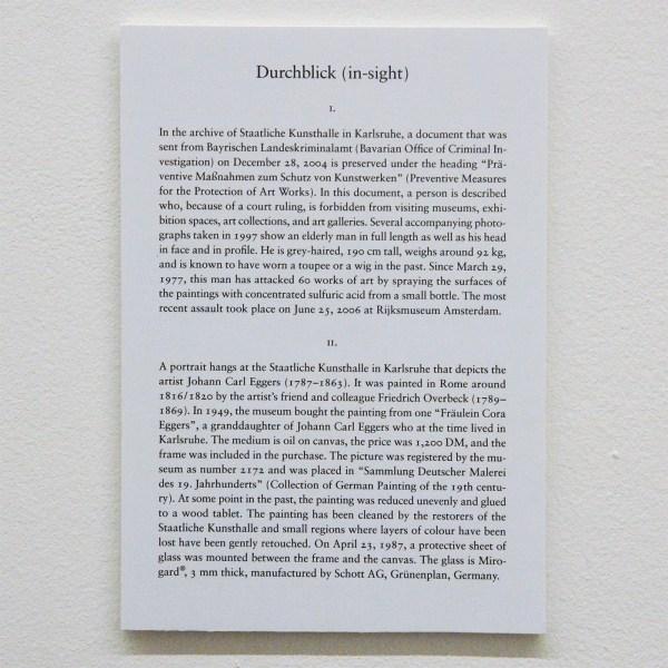 Matt Leiderstam - Durchblick - 58x73cm & 55x70cm C-print, museumglas, schap en tekstbordje (detail)