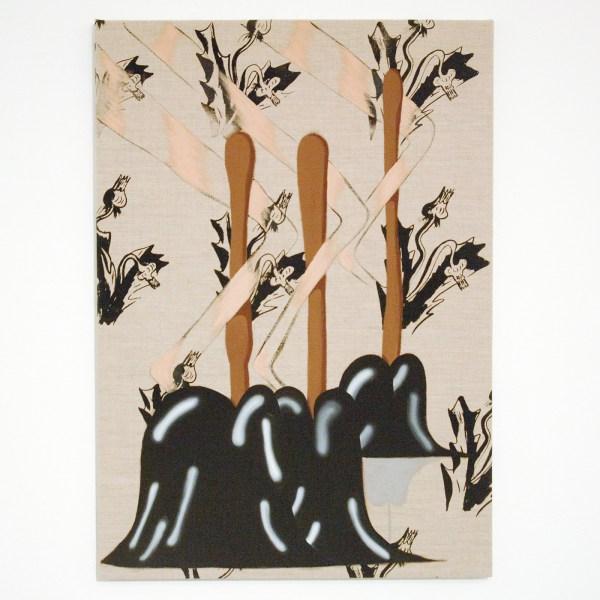 Bridget Mullen - A Thought Is Dynamite - 79x56cm Acrylverf en zeefdruk op linnen