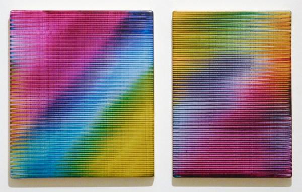 Rob Bouwman - Untitled (p0292017) & (p0282017) - Tweeluik, 35x30cm & 35x25cm Olieverf en zilververf op paneel