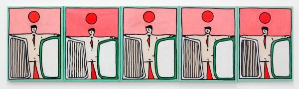 Allard Budding - Zonder Titels (multiple) - 30x40cm, Houtskool en acrylverf op canvas