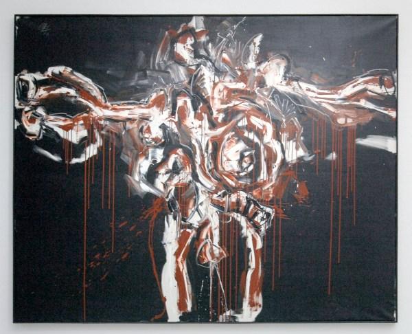 Antonion Saura - Grande crucifixion rouge et noir (Grote kruisiging in rood en zwart) - Olieverf op doek