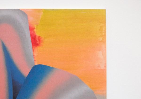 Hadassah Emmerich - Blue Orange Fold - Olieverf en drukinkt op linnen (detail)
