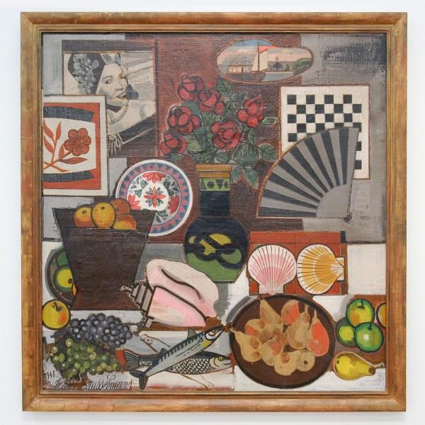 Jean Brusselmans - Nature Morte A Leventail (Stilleven met Waaier) - Olieverf op doek, 1948