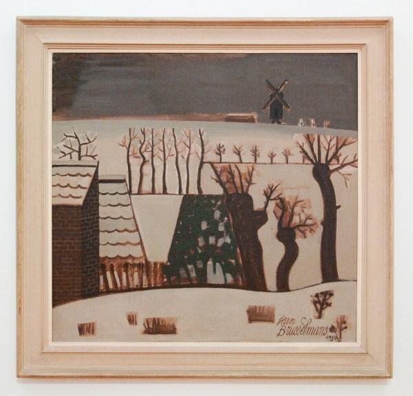 Jean Brusselmans - Paysage D'Hiver Au Moulin (Winterlandschap met Molen) - Olieverf op doek, 1939