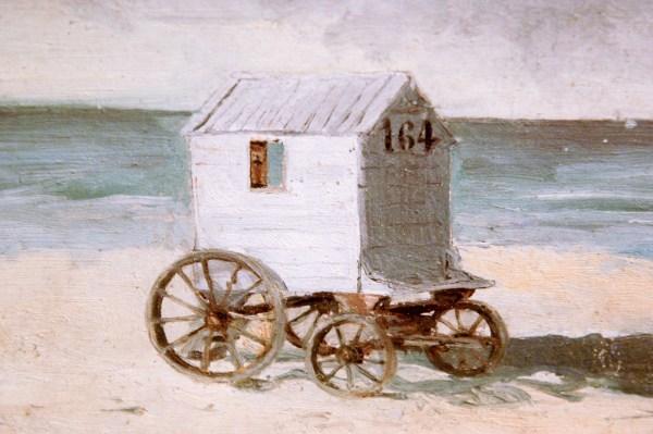 James Ensor - Badkoets op het strand - Olieverf op karton, 1876 (detail)