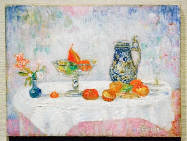 James Ensor - Fruit, bloemen en snuivende maskers - Olieverf op doek, 1906 (detail)