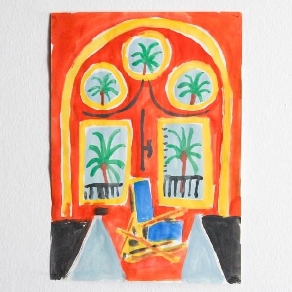 Marijn van Kreij - Untitled (Picasso, Red Interior with Transatlantic Blue, 1958) - 30x21cm Gouache en potlood op papier