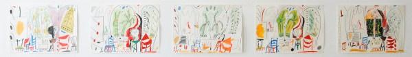 Marijn van Kreij - Untitled (Picasso, le Carnet de la Californie, 1955) - 21 tekeningen, 30x21cm Gouache, potlood, oliepastel en collage op papier