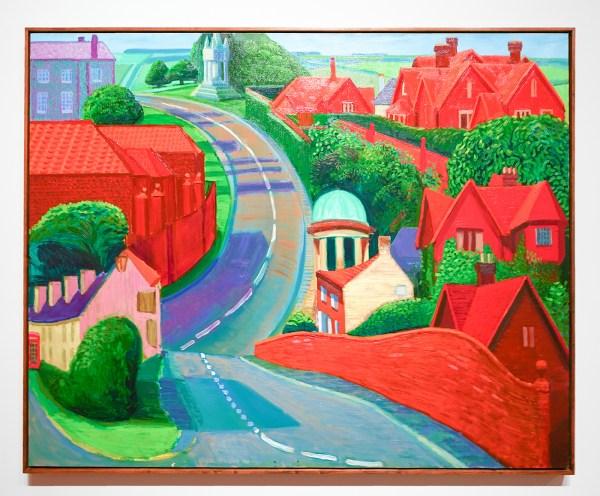 David Hockney - De weg naar York door Sledmere - Olieverf op doek, 1997