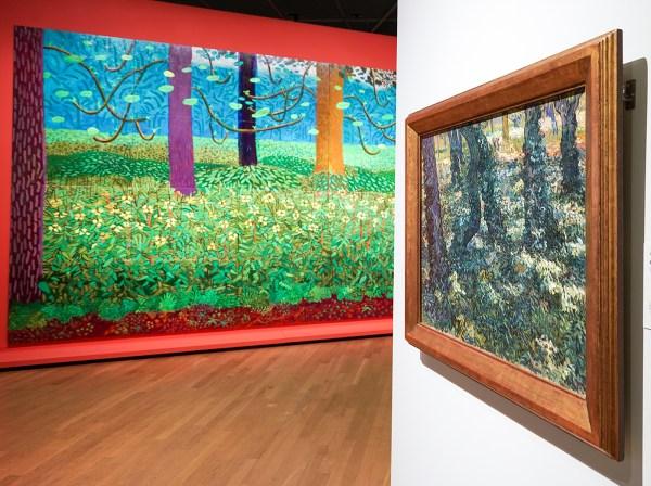 David Hockney - Onder de bomen, groter - Olieverf op 20 doeken, 2010-2011 & Vincent van Gogh - Kreupelhout - Olieverf op doek, 1889