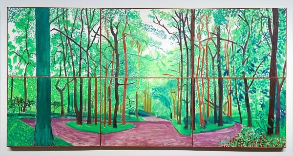 David Hockney - Woldgate Woods III, 20 & 21 mei 2006 - Olieverf op 6 doeken