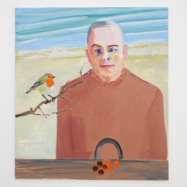 Emo Verkerk - Gijs Assmann - 90x80cm Olieverf op doek, pailettes en naaigaren