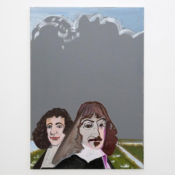 Emo Verkerk - Spinoza en Descartes - 100x70cm Grondverf, olieverf op doek