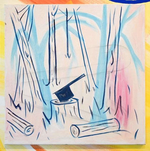 Pim Blokker - Hatchet - 60x60cm Gouache en olie op canvas