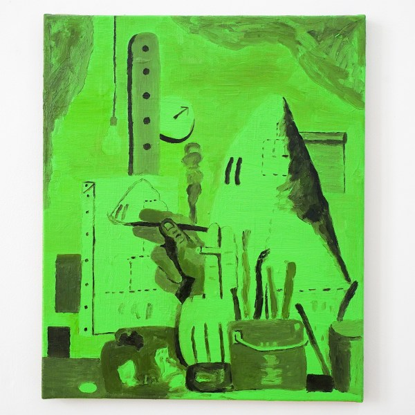 Dieter Durinck - Green Doesn't Sell (Philip Guston, The Studio, 1969) - 60x50cm Olieverf op canvas