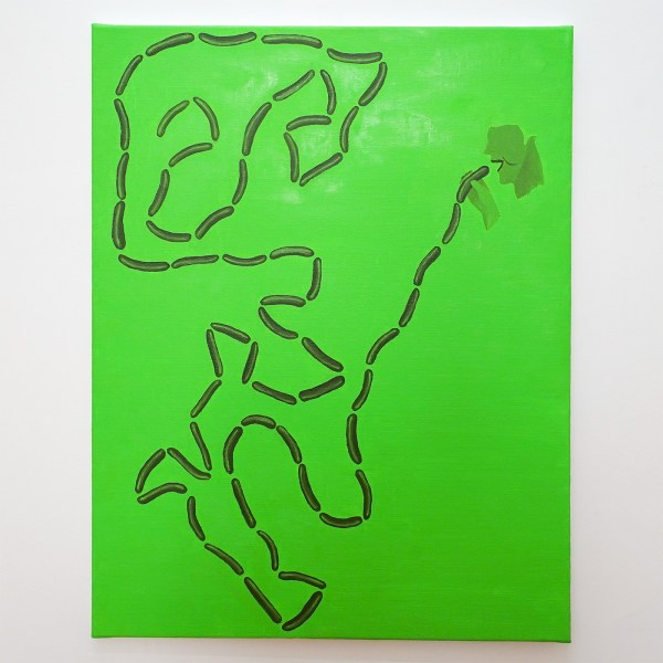 Dieter Durinck - The Throat of a Greedy Life (Sigmar POlke, Der Wurstesser, 1963) - 90x70cm Olieverf op canvas