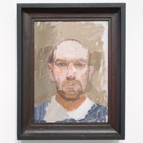 Euan Uglow - Self-Portrait after Falling on Nose - Olieverf op karton, 1963
