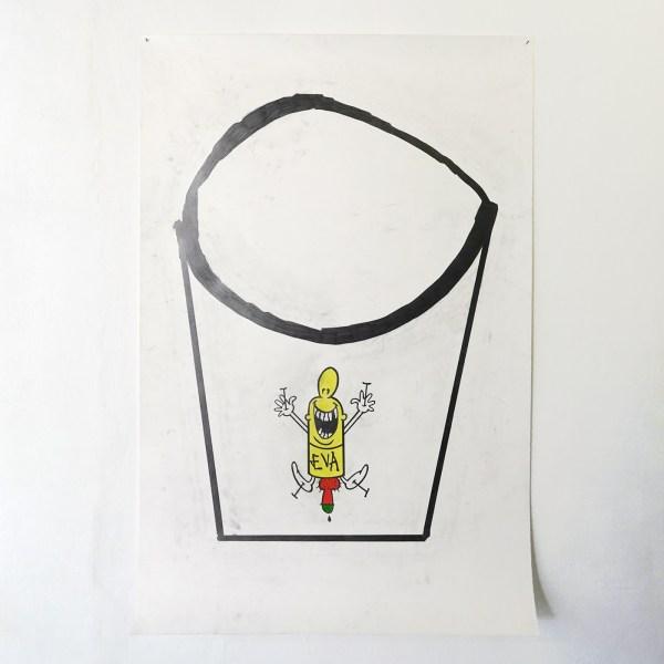 Jo de Smedt - JB on the Rocks - 150x100cm Grafiet en kleurpotlood op papier