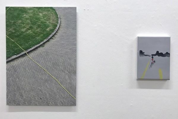 Joris Broekhoven - Yellow Line - 56x40cm Archiefprint op dibond & Marie Reintjes - Bad Weather - 24x18cm Acrylverf op katoen