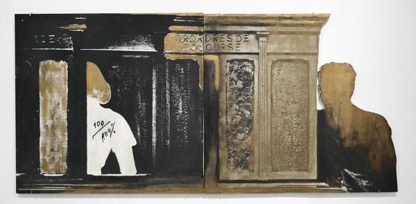 Marcel Broodthaers - 100,100% Ordres de bourse, La Banque - Beschilderd fotografisch doek op twee panelen