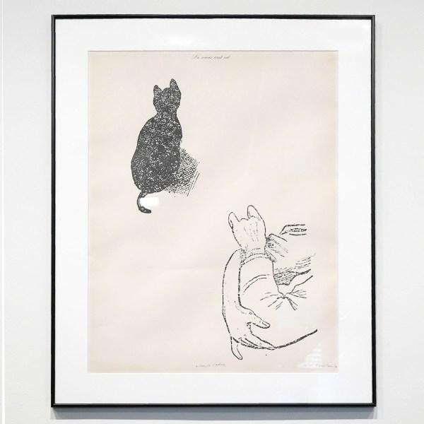 Marcel Broodthaers - La Souris ecrit rat (A comte d'auteur) 76x57cm Hoogdruk in zwart en rood