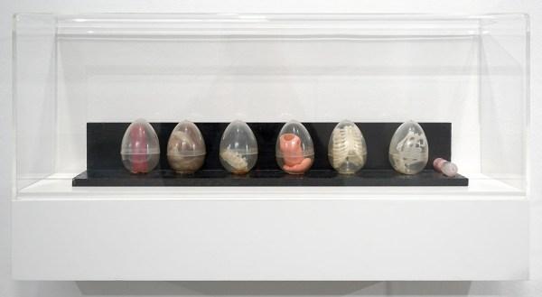 Marcel Broodthaers - Le Cycle de la Vie - Plastic eieren met speelgoed, haar, katoen, zandloper en beschilderde plank