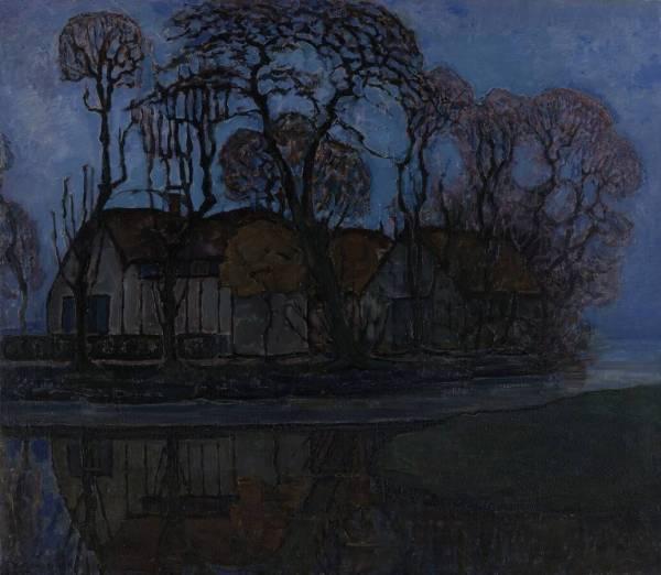 Piet Mondriaan - Boerderij in Duivendrecht bij avond - 85x100cm, Olieverf op doek, circa 1916 Kroller-Muller Museum