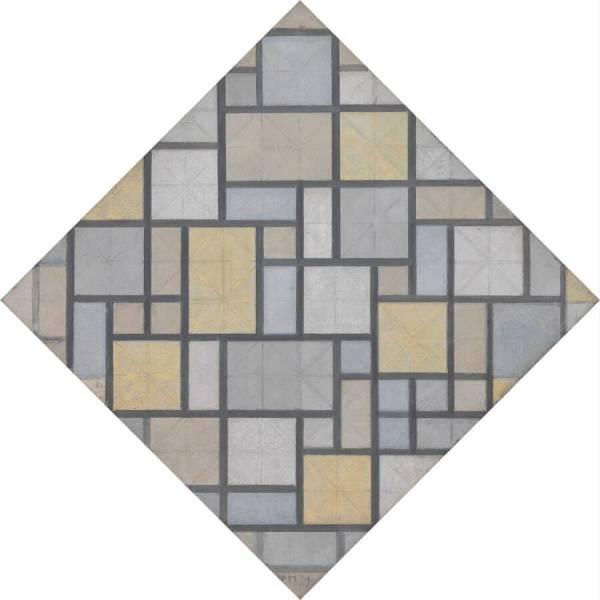 Piet Mondriaan - Compositie met raster 5- ruit, compositie met kleuren, 1919 Olieverf op doek 63 x 63 cm Kroller Muller