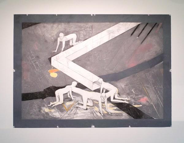 Roland Sohier - Nooduitgang - Houtskool en pastel op papier