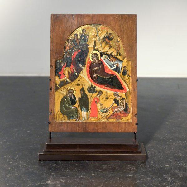 Grieks - Geboorte van Christus - 22x18cm Tempera op hout, laat 15e of vroeg 16e eeuw