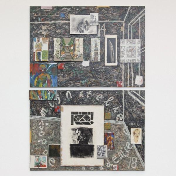 Aart Houtman - Atelierschilderij (Mijn atelier op de academie en in 2014 (44) - 286x200cm Acrylverf en olieverf op linnen 2014