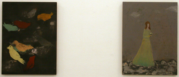 Aldwin van de Ven - Vogelstudie & Bruidsmeisje - 80x60cm Schoolbordverf, olieverf en potlood op paneel
