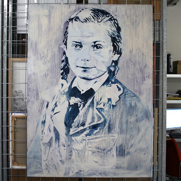 Andre Olivier Martin - Untiteld No 7 - 130x170cm Acrylverf, spuitbus, inkt, houtskool en olieverf op canvas