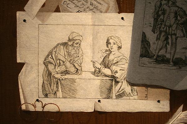 Andrea Domenico Remps - Trompe-l'oeil met Prenten, Brieven en een Bril - Olieverf op doek, tweede helft 17e eeuw (detail)
