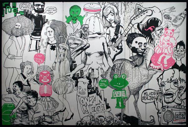 Antistrot - Zonder Titel - Acrylverf en inkt op drie panelen