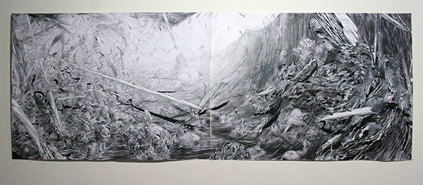 Apolo Cacho - El Cyborg Androgino III - 50x120c, Arcylverf, houtskool en inkt op papier
