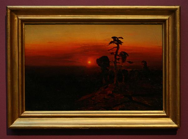 Archip Koeindzji - Zonsondergang over het pijnbos - Olieverf op papier op doek 1910