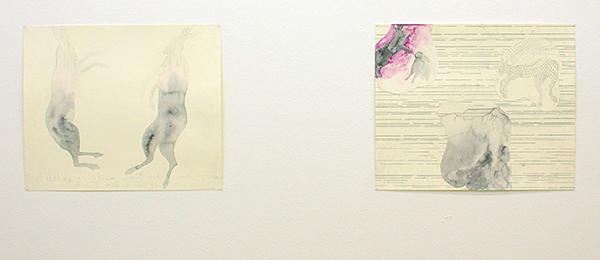 Arno Kramer - Zonder Titels - 43x52cm Houtskool, aquarel op papier en houtskool, aquarel en collage op papier