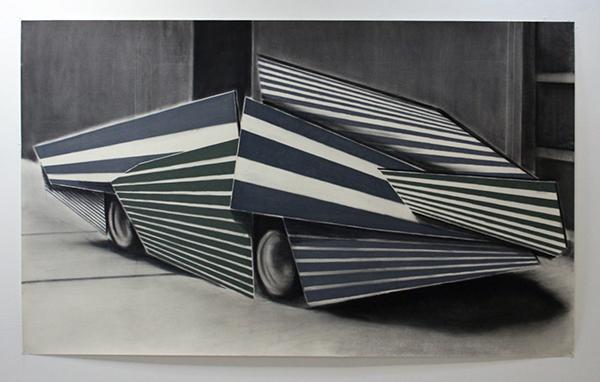Bas Louter - Car 2 - 190x118cm Houtskool, grafiet en pastel op papier