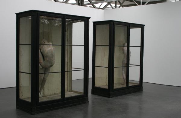 Berlinde de Bruyckere - Een - Wax, epoxyhars, metaal en twee houten vitrines met glas